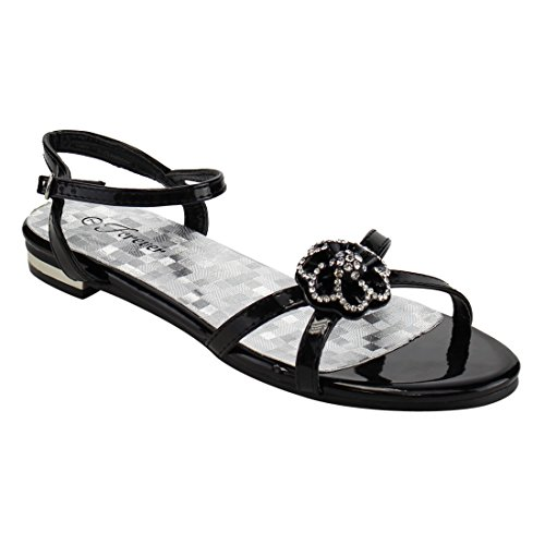 Forever IE61 Womens Rhinestone Floral Buckle Strap Flat Dress Sandals Black rau0n