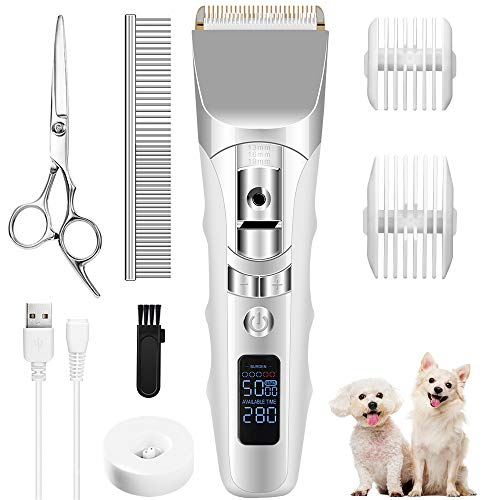 Dog Clippers for Small Dogs 5-Speeds Low Noise Cordless Dog clippers for grooming for Thick Coats Dog Hair Clippers Long Battery Life Rechargeable With 4 Guards 1 Comb 1 Brush 1 Scissors For Dogs Cats