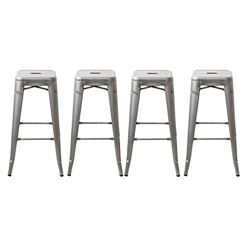 Buschman 30 Inch Galvanized Metal Bar Stools, Set of 4, Indoor/Outdoor, Stackable (Stool 30 Inch)