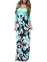 f1c65a56bf Women s Maxi Dress Floral Printed Autumn 3 4 Sleeve Casual Tunic Long Maxi  Dress