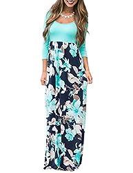 Dunea Women S Maxi Dress Floral Printed Autumn 3 4 Sleeve Casual Tunic Long Maxi Dress Xx Large Green