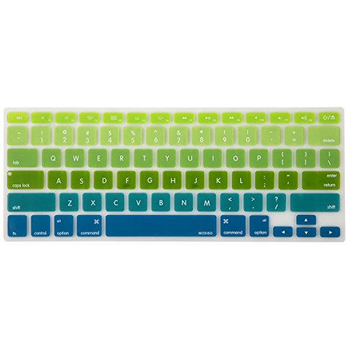 Mosiso Keyboard Cover with Pattern for MacBook Pro 13 Inch, 15 Inch (with or without Retina Display, 2015 or Older Version) MacBook Air 13 Inch, mix Ombre Green