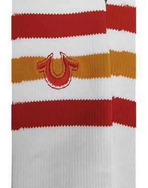 One Pair Red / Orange Striped Tube Mens Sock Size 10-13