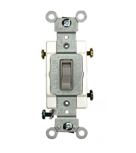 Leviton 54503-2GY 15 Amp, 120/277 Volt, Toggle Framed 3-Way AC Quiet Switch, Commercial Grade, Grounding, Gray