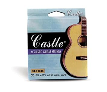 Castle - Cuerdas para guitarra acústica calibre 010: Amazon.es ...