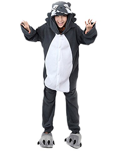 Keral Kigurumi Pyjama Erwachsene Anime Cosplay Halloween Kostüm Kleidung_Wolf_S