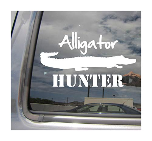 (- Alligator Hunter - Gator Hunting Florida Alabama Louisiana Texas Georgia - Cars Trucks Moped Helmet Hard Hat Auto Automotive Craft Laptop Vinyl Decal Store Window Wall Sticker 01512)