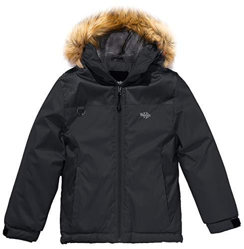 - Wantdo Boy's Mountain Waterproof Ski Jacket Windproof Rain Jacket Black, 6/7