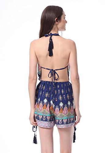 (Moxeay Sexy Bohemian Printed Deep V-Neck Backless Romper (M/6))