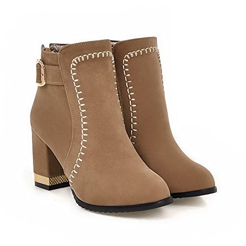 AgooLar Women's Frosted Round Closed Toe Solid Low-Top High-Heels Boots Apricot 5KSJsG