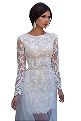 Isabelwedding Women's Long Sleeves Lace Tull Train Short Wedding Dress