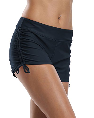 ALove Bathing Suit Shorts for Women Ruched Swim Bottoms Shorts Navy Blue 14