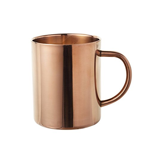 MyLifeUNIT Double Wall Stainless Steel Copper Plated Coffee Mug, 15 Oz Insulated Beer Bug with Copper Finish (Copper Plated Steel)