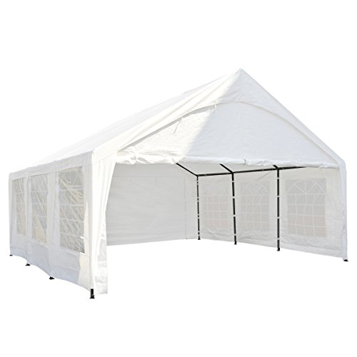 Abba Patio 20 x 20-Feet Heavy Duty Carport, Car Canopy Storage with Steel Legs and Sidewalls, White by Abba Patio