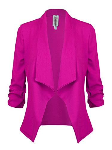 (Instar Mode Classic 3/4 Sleeve Open Front Blazer Jacket [S-3X] -Made in USA Magenta 3XL)