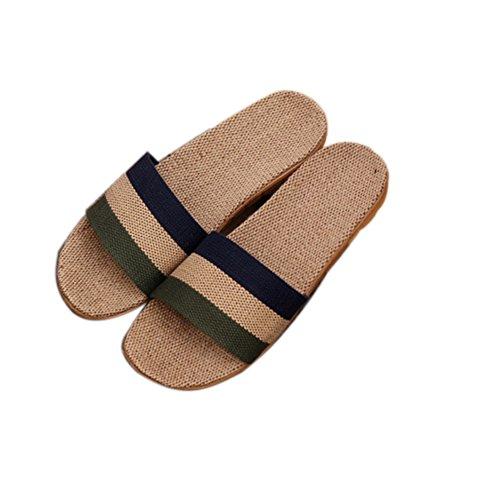 TELLW Linen Slippers couple indoor wood flooring cotton linen anti-slip thick bottom summer slippers for men and women Green D9mcVB9R