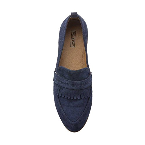 Suede Suede Navy Loafers Heel Stacked Pay Loafer Leather Women's Pic Ethan qwZvx6I