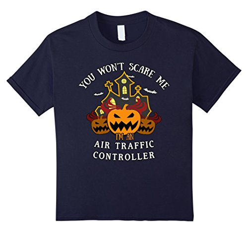 [Kids You Won't Scare Me I'm Air Traffic Controller Tee 12 Navy] (Traffic Controller Costume)