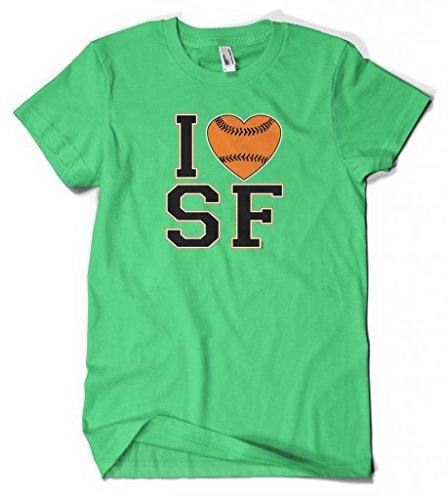 Cybertela I Love San Francisco Baseball Heart Men's T-shirt (Kelly Green, - San Francisco Bridge Love