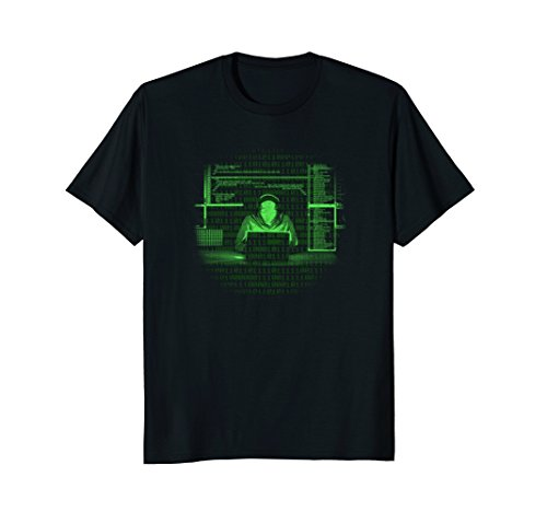 Mens Computer Programmer Shirt Binary Code Gift Tee Technician Large Black