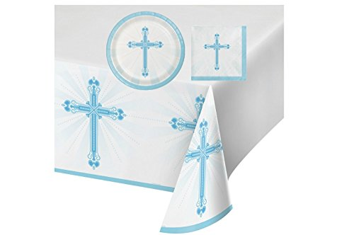 Blessings Blue Celebration Party Supply Pack! Bundle Includes Plates & Napkins for 18 guests, plus a Table (Blue Christening Napkin)