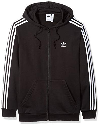 Signature Full Zip Hoody - adidas Originals Men's 3-Stripes Full Zip Hoodie, Black, X-Large