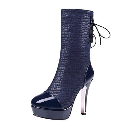 Mee Shoes Damen Plateau high heels halbschaft mit Schnürsenkel Stiefel Blau