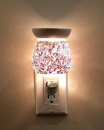 (Relaxus Aroma Sparkle 2 in 1 Plug-In Essential Oil Night Light Diffuser: Crackle Glass (Red))