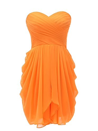 Kiss Dress Women's Bridesmaid Dresses Short Strapless Chiffon Sweetheart Prom Gowns(L,Orange)