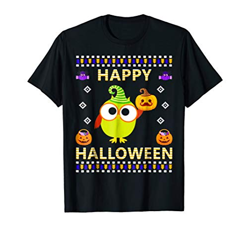 FUNNY CUTE GREEN OWL UGLY HALLOWEEN COSTUME GIFTS T SHIRT