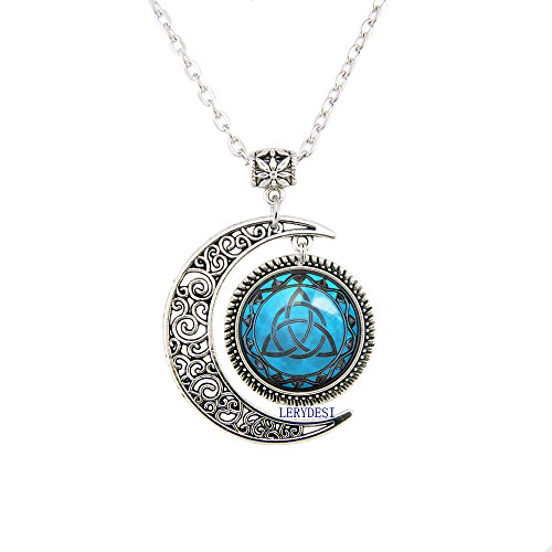 Blue Moon Celtic Triquetra Necklace Pendant Silver Plated Charm Moon jewelry Triquetra Pagan ()