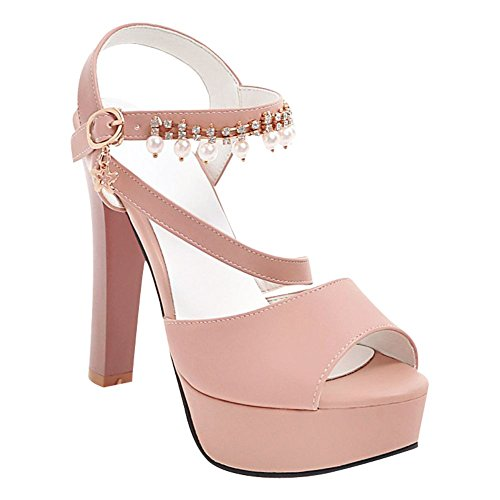 Mee Shoes Women's Fashion Ankle Strap Buckle Platform Sandals Pink