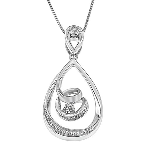 Espira 10K White Gold (0.03ct TDW) Round-cut Diamond Accent Tear Drop Swirl Pendant Necklace (H-I, I2-I3)