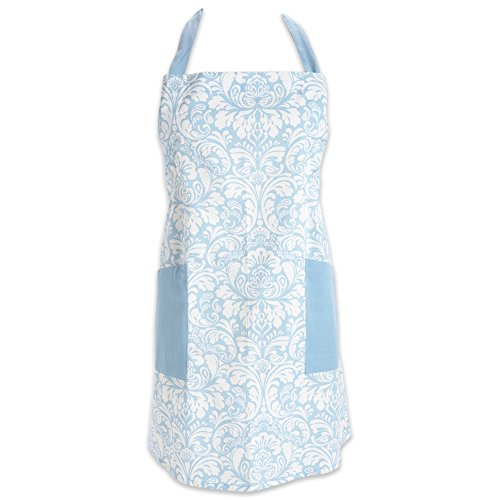 "DII Cotton Adjusatble Women Kitchen Apron with Pockets and Extra Long Ties, 37.5 x 29"", Cute Apron for Cooking, Baking, Gardening, Crafting, BBQ-Damask Light Blue"