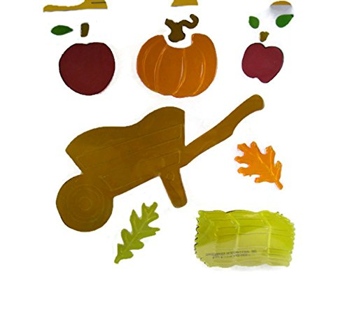 Fall Harvest Gel Window Cling Reuseable Stickers - Apples-Pumpkins-Hay (13 Count)