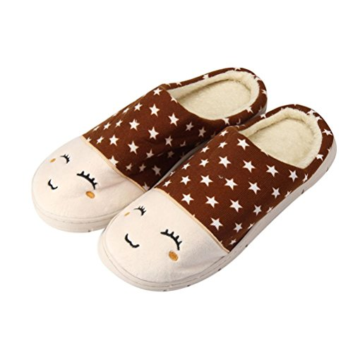 Slip Anti Brown Mens Winter Sole slip Hard Slipper Home Fuzzy On Shoes Floor Slippers Womens Flat Clode® Indoor Soft Mules Cotton Unisex FB61qn7