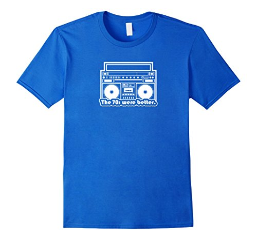 1970's Halloween Costumes In A Box (Mens The 70s were Better vintage music boombox tee shirt gift Medium Royal Blue)