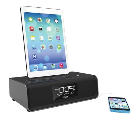 iHome Dual Charging Stereo FM Clock Radio with Lightning Connector and USB for iPhone 6, iPhone 6 Plus, iPad, iPhone or iPod(Black)