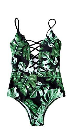 Sondiborn Swimwear Women's One Piece Criss Cross Front, Green, Size X-Large