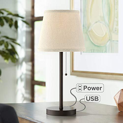 20 Table Lamp Inch - Flesner Modern Desk Table Lamp with Hotel Style USB and AC Power Outlet in Base Bronze Metal Oatmeal Drum Shade for Bedroom Office - 360 Lighting
