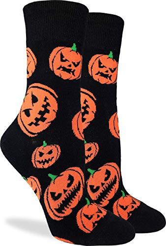 Good Luck Sock Women's Halloween Pumpkins Socks - Black, Adult Shoe Size 5-9 (Pumpkin Socks)