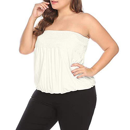 6c1f836915dc8 SICILY Women's Sexy Strapless Sleeveless Pleated Stretch Casual Large Size  Tube Top XL-5XL