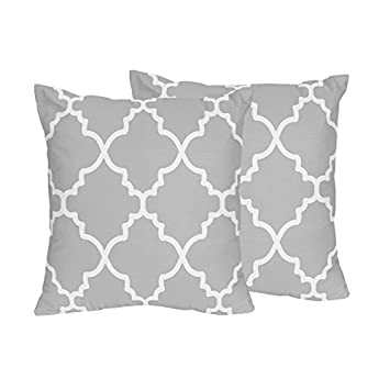 Amazon.com: Gris y Blanco Enrejado decorativos Accent ...