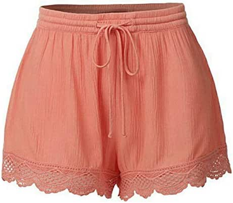 Toponly Drawstring Comfy Lace Shorts for Women Solid Slips Elastic for Under Dresses Short Yoga Pants