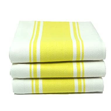 Kitchen Dish Tea Towels By Cucinare 100% Cotton, Professional Grade, Large Absorbent with Vintage Striped Tea Towel, Set of 3 or 6 (Size 20 x 28 ) (3, Yellow)