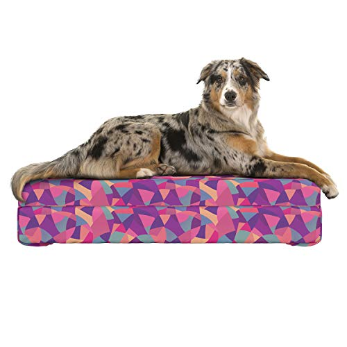 Pillow Glass Mosaic - Lunarable Patchwork Dog Bed, Abstract Pattern with Geometric Motifs Stained Glass Inspired Mosaic Composition, Dog Pillow with High Resilience Visco Foam for Pets, 32