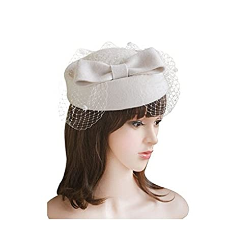 95dd8fee215 LEORX Wool Felt Pillbox Hat Berets Hat with Bow and Veil for Women Lady  (White)  Amazon.co.uk  DIY   Tools