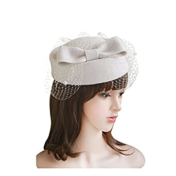 7296922fd29eb Image Unavailable. Image not available for. Color  LEORX Women Dress Fascinator  Wool Felt Pillbox Hat ...