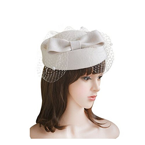LEORX Women Dress Fascinator Wool Felt Pillbox Hat with Bow Veil (White) by LEORX (Image #2)