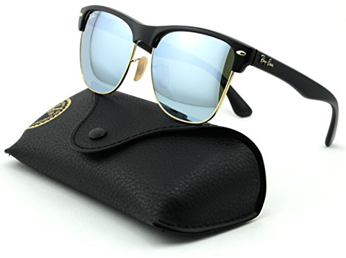 Ray-Ban RB4175 Clubmaster Oversized Unisex Mirrored Square Sunglasses (Demi Shiny Black Frame, Light Green Mirror Silver Lens ()